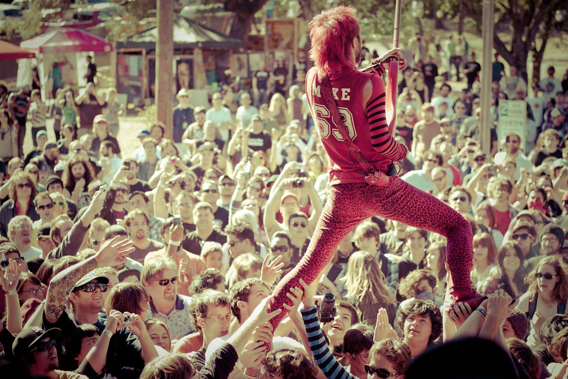 Peelander perform live for a big festival crowd in Europe