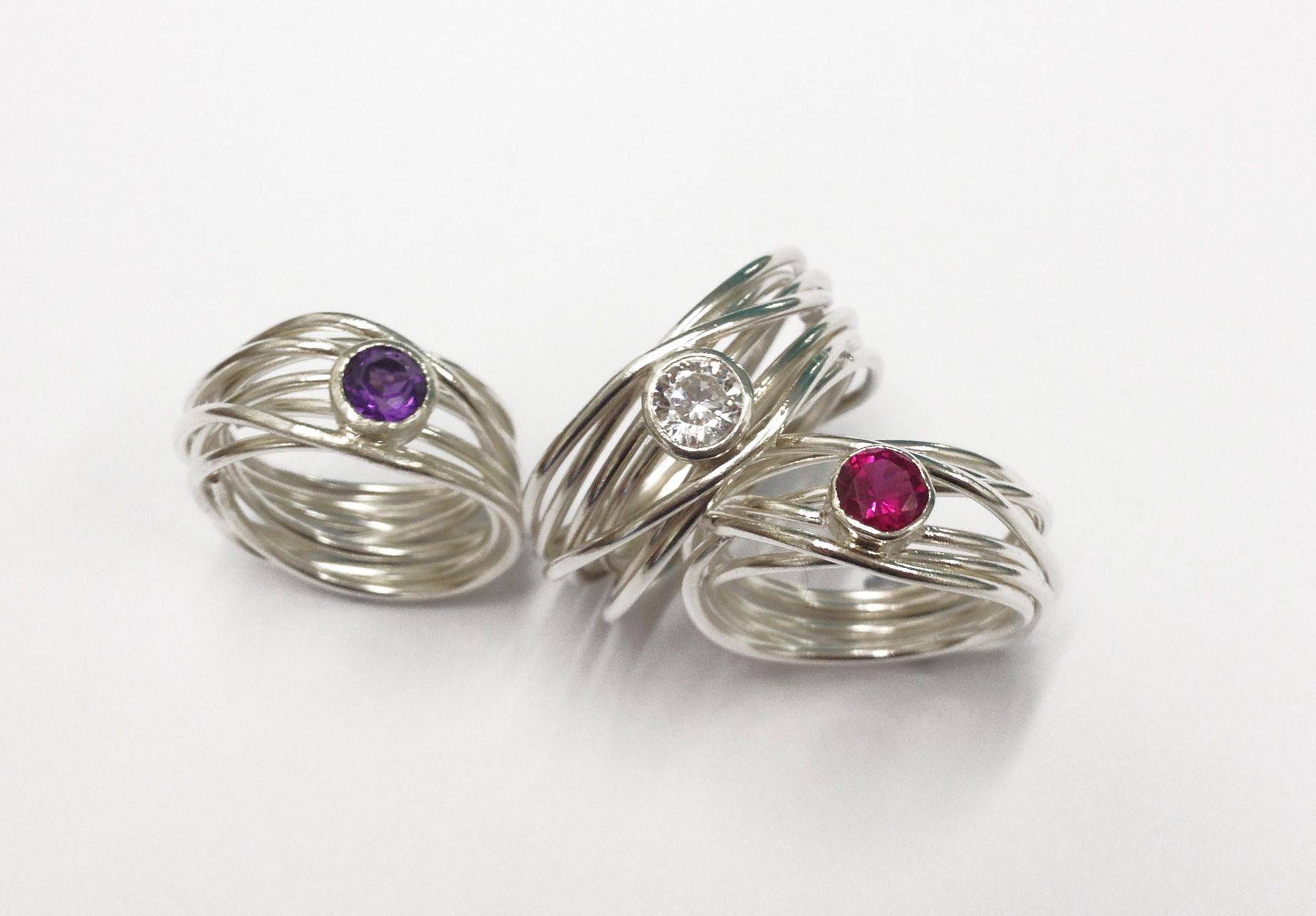 Silver rings with semi-precious stones