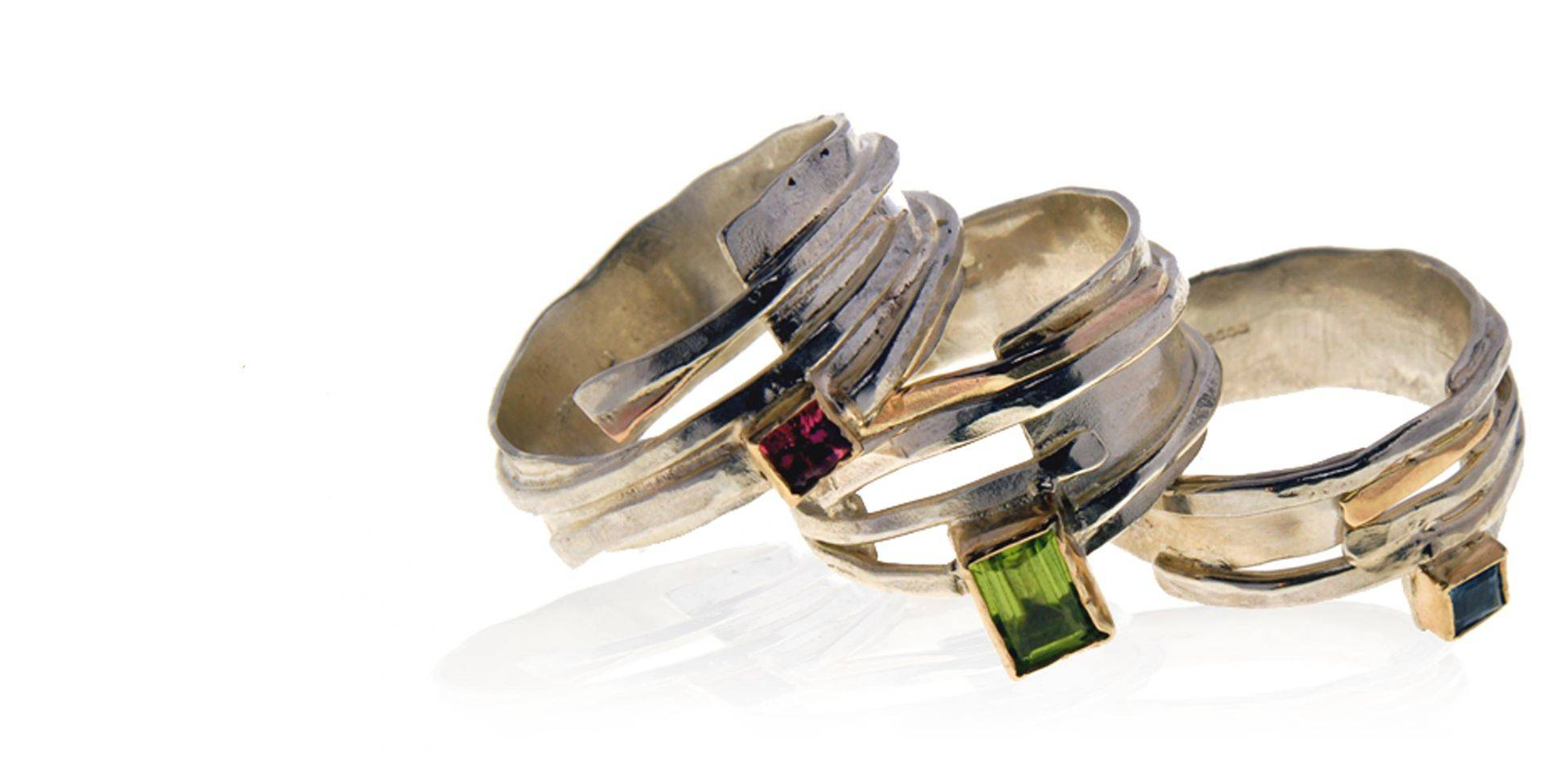 Silver and gold rings with semi-precious stones