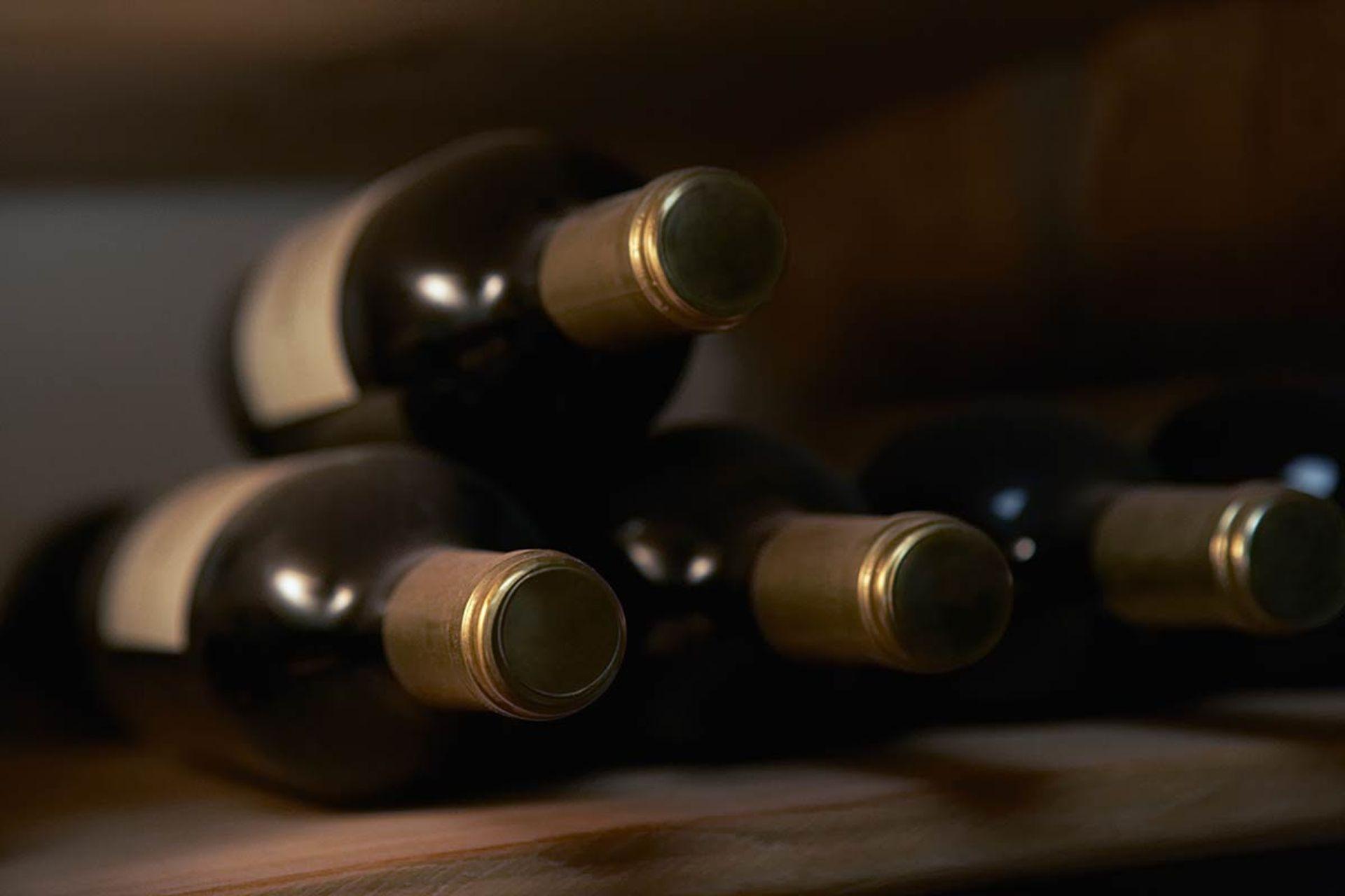 Bottles of wine in racks