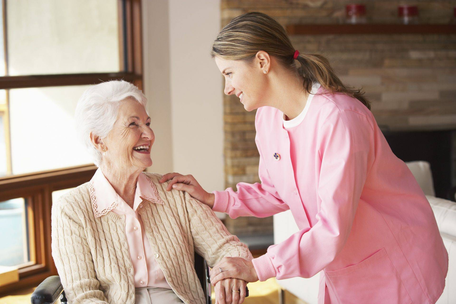 Nurse assisting the elderly lady, companion care