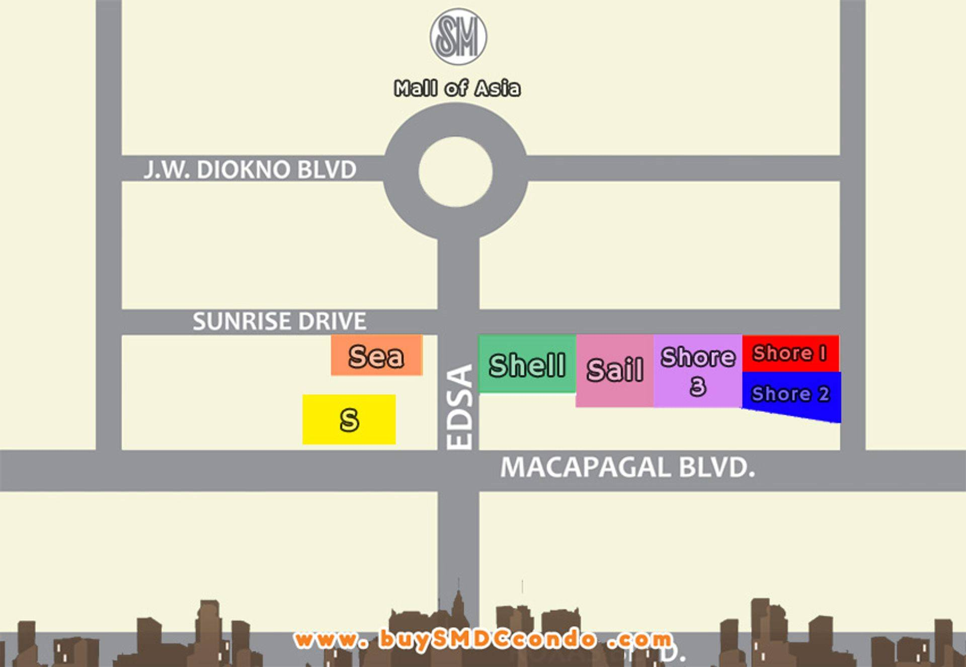 SMDC S Residences SM Mall of Asia Pasay City Condo Location Map