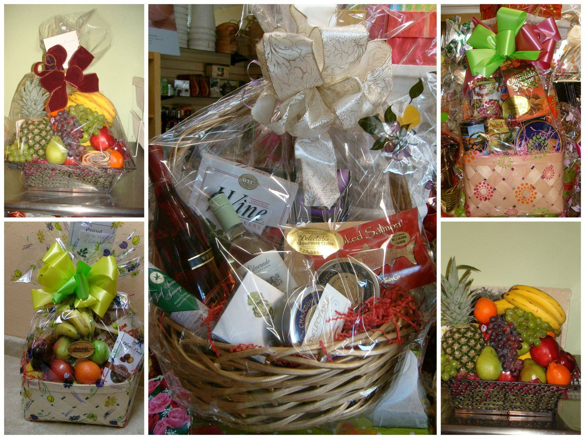 gourmet gift basket with embossed corporate ribbon