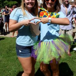 Jaclyn welcoming Kristin to ADPi on Bid Day