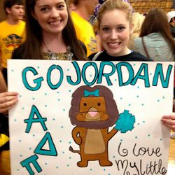 Maddie supporting her Diamond Sister, Jordan, in Pep Rally.