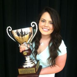 ADPi President, Colbe, with our Sorority of the Year trophy!  We are so proud!