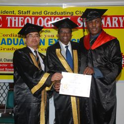 REV. DR.C.P.THOMAS & DR.P.MANGTE ABTS CONFERRING THEOLOGICAL DOCTORATE DEGREE TO OUR REGULAR STUDENT- BISHOP DR. JOSSY. O. ONYEKWERE. HE IS THE FOUNDER/PRESIDENT OF REDEEMED EVANGELICAL ESCHATOLOGICAL CHURCH INTERNATIONAL.