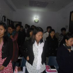 ABTS RESIDENTIAL STUDENTS DURING THEIR CHAPEL SERVICE.