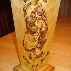 Woodburn on pine vase