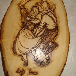 Woodburn on basswood slice