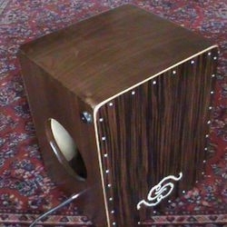 Solid Walnut Snare Cajon with Ebony Heads, Hand Painted Decal and Pickups