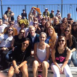 Our team rooting on the Women's Soccer Team!