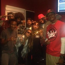 Members of The First Class & Rocboys Media staff in recording session w/ Platinum recording artist, Mann (PeaceLife)