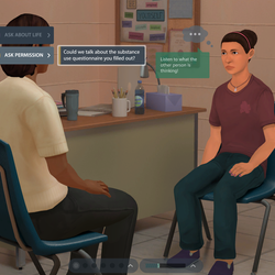 Three different scenarios depicting realistic situations with adolescents.