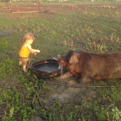 "My nephew Riggin with ""Bacon""!"