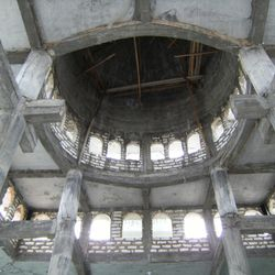 Internal view of Bustanuddin Mosque which is still under upgrading.