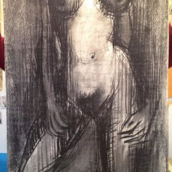 Late artist Karlin Uretsky charcoal on Fabriano Italian paper