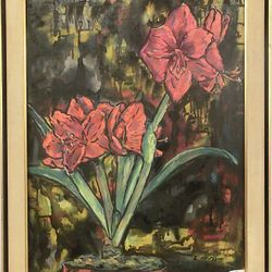 Late artist Evelyn Metzger oil on board in original frame, comes with her coffee table book!