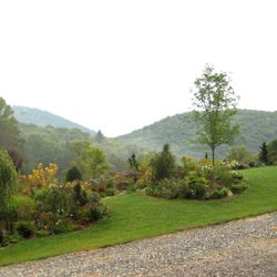 garden overlooking the Blue Ridge mountains