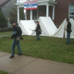 Re-enactors drill, PA 150 Civil War Road Show hosted by CCHS.