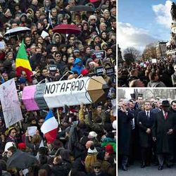 crowd gathering before Charlie Hebdo Paris march, January 2015