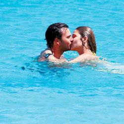 before the wedding of Ana BeatrizBarros and Karim El Chiaty , the coule in love, in Mykonos blue waters