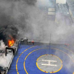Greek Ferry fire aboard , hundreds of passengers waiting to be recued, December 28, 2014