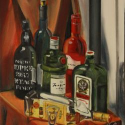 Oil painting of alcohol bottles