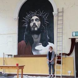 mural art jesus christ church painting
