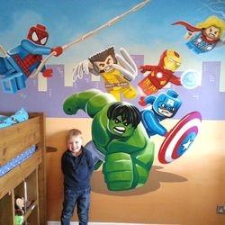 mural boy bedroom art superhero avengers lego