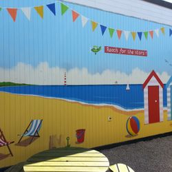mural sea side beach school sunshine huts deck chairs