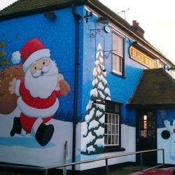 mural street art pub christmas decoration santa tree
