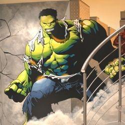 mural art painted hulk wall huge stairs