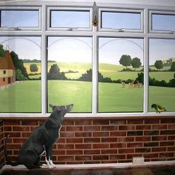 mural art painting illusion trompe l'oel tromploy dog parrot bird window