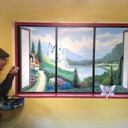 mural art painted window faries fairy girl real