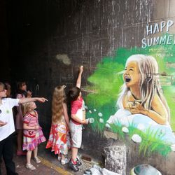 street art chalkart chalk mural drawing children community