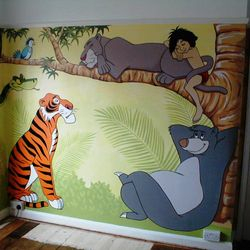 mural painted wall jungle book