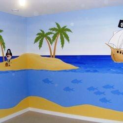 mural decor kids room painting pirate island ship map treasure