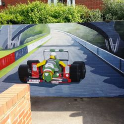 mural art street racing car formula one speed painting