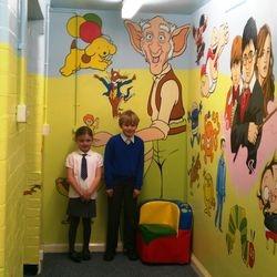 mural school children book characters nursery story