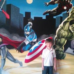 superhero mural artist art decor interior bedroom hulk avengers
