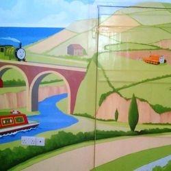 painted interior nursery mural thomas the tank engine