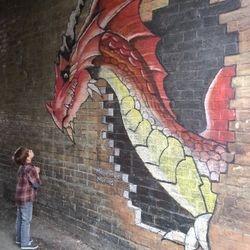 mural chalk art street community george dragon