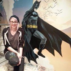 superhero mural artist art decor interior stairs batman moon