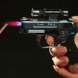 Metal Gun Butane Torch Lighter with Laser Sight