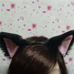 Black Kitty Kittie Cat Neko Cosplay Furry Ears