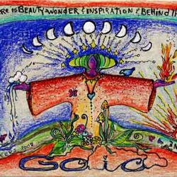 GAIA art card, pen and ink with colored pencils. by Linda.
