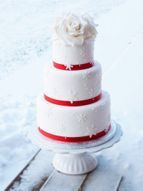 Red and White three tier wedding cake