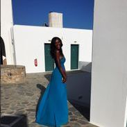 Nigerian Supermodel Genevieve Nnaji before the wedding ceremony of Ana Beatriz Barros, Karim El Siati  in Mykonos
