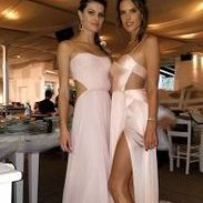 the bridesmaids Alessandra Ambrosio and Adriana Lima at the Fairy Tale wedding in Mykonos